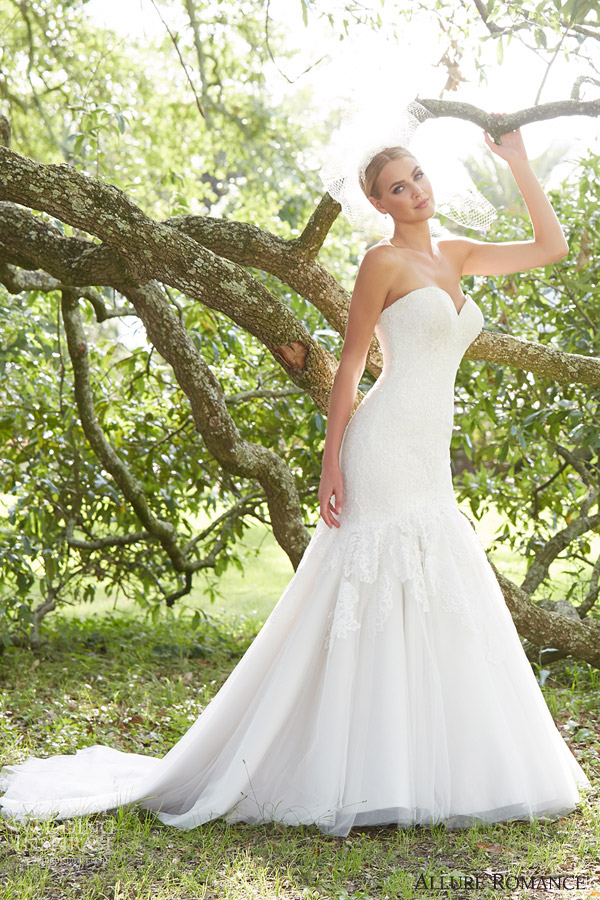 allure romance fall 2015 bridal 2856 strapless sweetheart mermaid weding dress