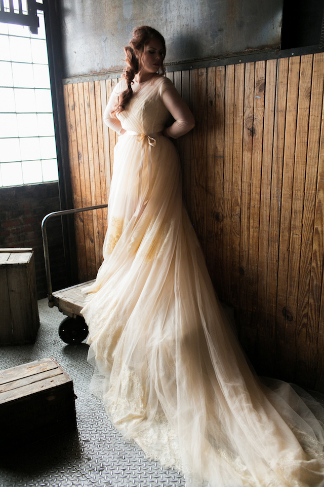 Vintage style wedding dress with long train | Alea Lovely Photography | see more on: http://burnettsboards.com/2016/01/affordable-couture-wedding-dresses/
