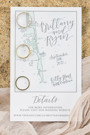 Outer Banks wedding invitation   Alicia Lacey Photography   see more on: http://burnettsboards.com/2016/01/darling-outer-banks-wedding/