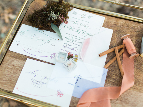 wedding invitations - photo by Rebecca Masters Photography http://ruffledblog.com/mountain-vineyard-wedding-inspiration