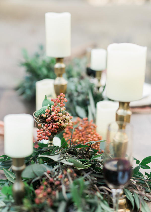 table runner decor - photo by Rebecca Masters Photography http://ruffledblog.com/mountain-vineyard-wedding-inspiration