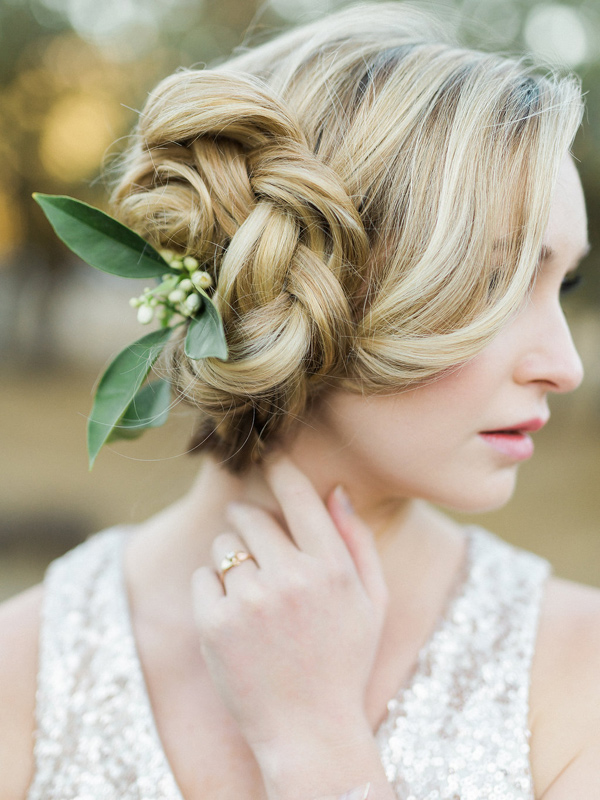 braided wedding hair - photo by Rebecca Masters Photography http://ruffledblog.com/mountain-vineyard-wedding-inspiration