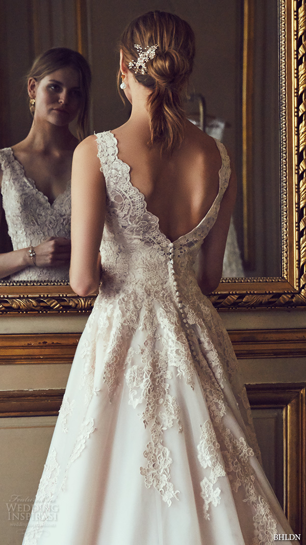 bhldn spring 2016 sleeveless v neck lace strap embellished bodice v back sweep train beautiful a line ball gown wedding dress (mckinley) bkv