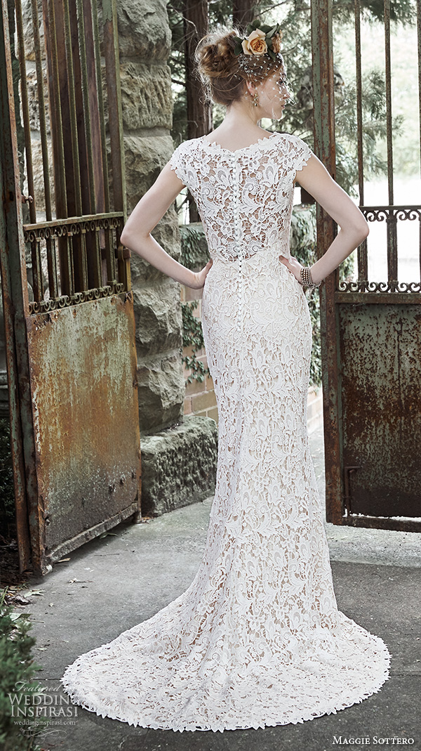 maggie sottero fall 2015 wedding dresses gorgeous stunning sheath gown jewel neckline cap sleeves trudy back