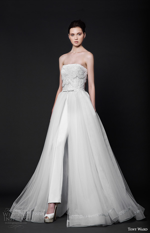 tony ward 2016 bridal strapless straight across neckline pants with a line overskirt alba