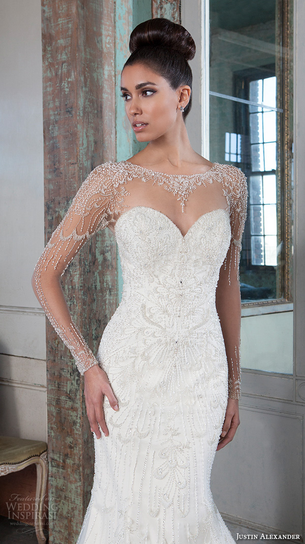 justin alexander signature spring 2016 beautiful mermaid wedding dress fit flare trumpet jeweled illusion bateau neckline long sleeves gown 9817 closeup