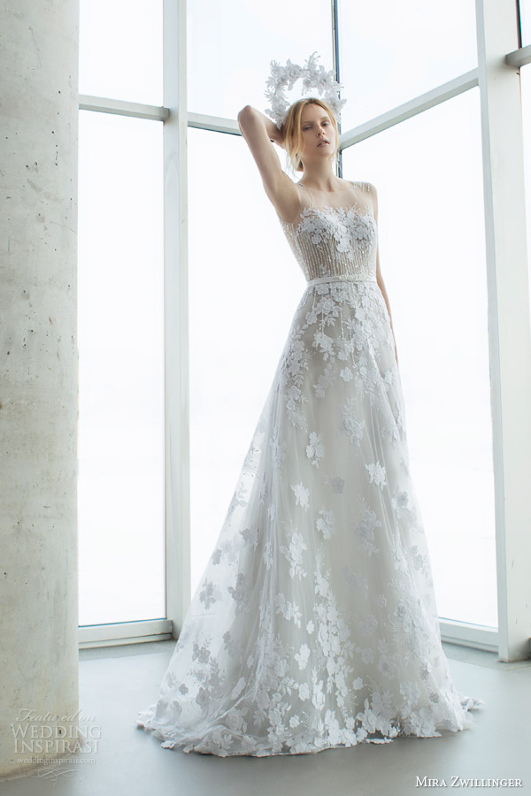 mira zwilinger bridal 2016 stardust alpha sleeveless light grey organza wedding dress guipure lace sequis illusion neckline