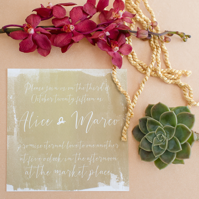 Green watercolor wedding invitations with white lettering | Lightburst Photography | see more on: http://burnettsboards.com/2016/01/earthy-sophisticated-desert-wedding/