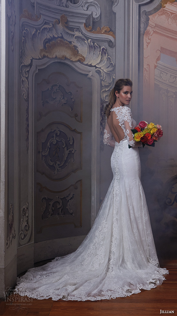 jillian 2016 wedding dresses jewel lace neckline lace sheer long sleeves embroideried bodice slim fit stunning gorgeous wedding dress chapel train cherie back