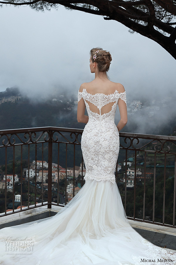 michal medina spring 2016 bridal off the shoulder lace trumpet mermaid wedding dress mia back