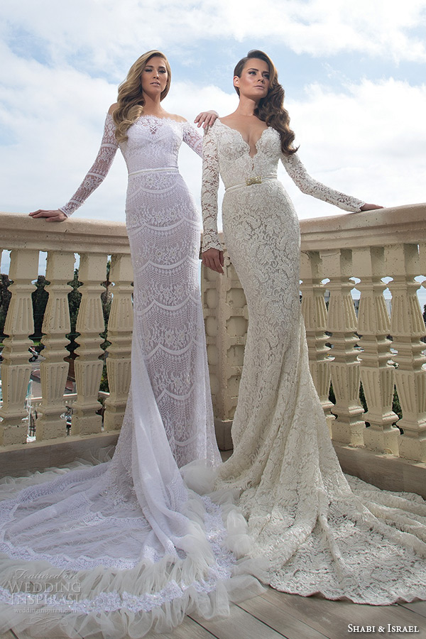 shabi and israel wedding dresses 2015 bridal collection long sleeves lace sheath dress champange white bridal gown