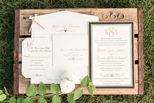 Golf themed wedding invitations | Audrey Rose Photography | see more on: http://burnettsboards.com/2016/01/masters-golf-tournament-inspired-wedding/
