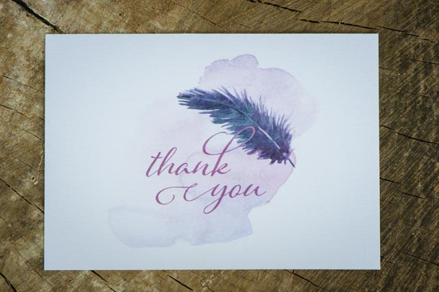 Feather and watercolor wedding thank you cards | Lauren Kriedemman Photography | see more on: http://burnettsboards.com/2016/01/enchanted-forest-wedding-inspiration/