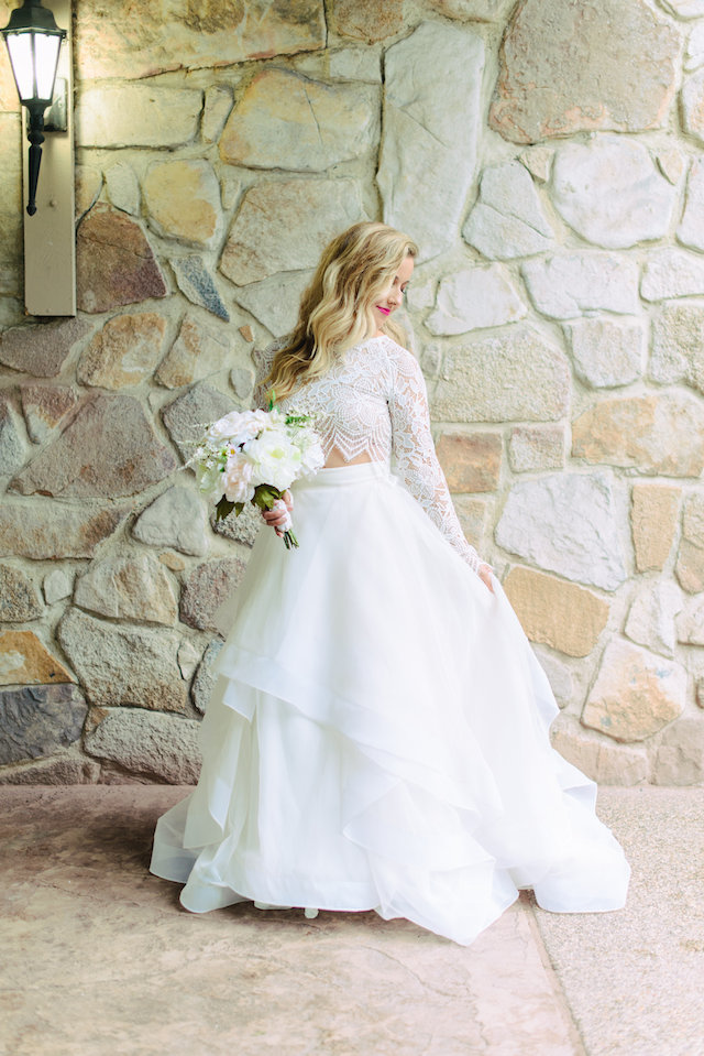 Crop top wedding dress | Madison Short Photography | see more on: http://burnettsboards.com/2016/01/taylor-swift-inspired-wedding/