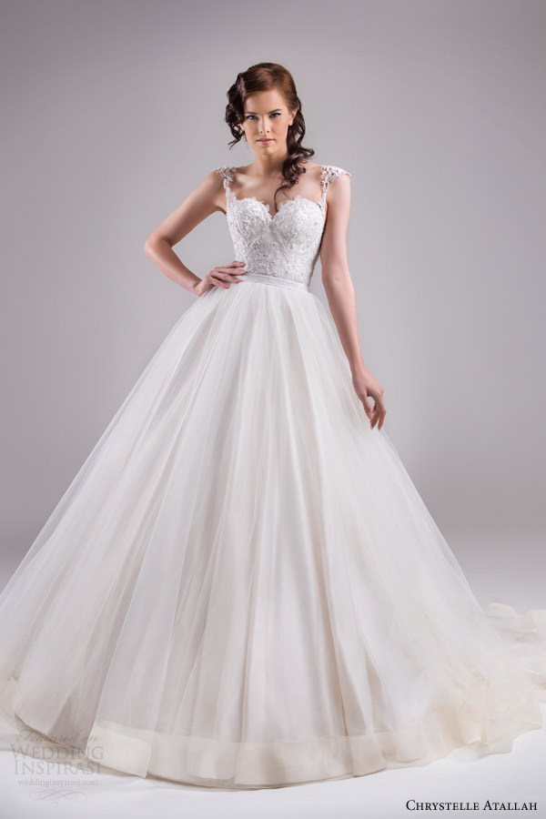 chrystelle atallah bridal spring 2015 sleeveless ball gown wedding dress cap sleeve lace straps horsehair edge skirt