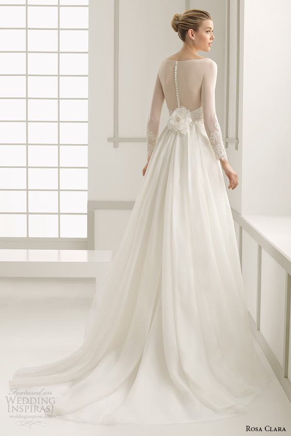 rosa clara 2016 bridal collection bateau neckline illusion long sleeves a line wedding dress deba back