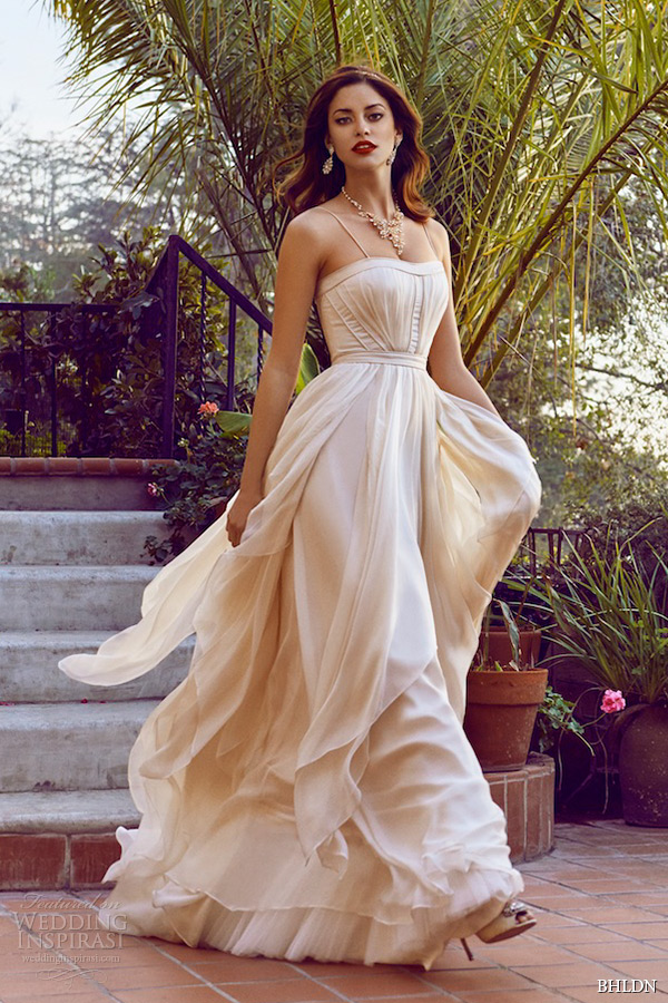 bhldn bridal spring 2015 wedding dresses spagetti strap semi sweetheart neckline blush a line bridal gown cascada villa sophia la california photo shoot
