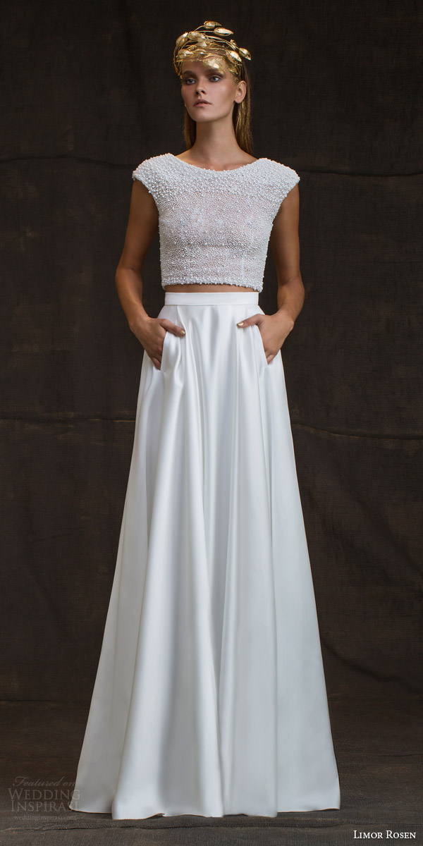 limor rosen bridal 2016 treasure bianca two piece wedding dress pearl cap sleeve top skirt pockets
