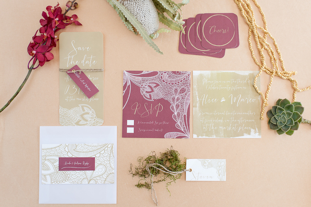 Marsala wedding invitations | Lightburst Photography | see more on: http://burnettsboards.com/2016/01/earthy-sophisticated-desert-wedding/