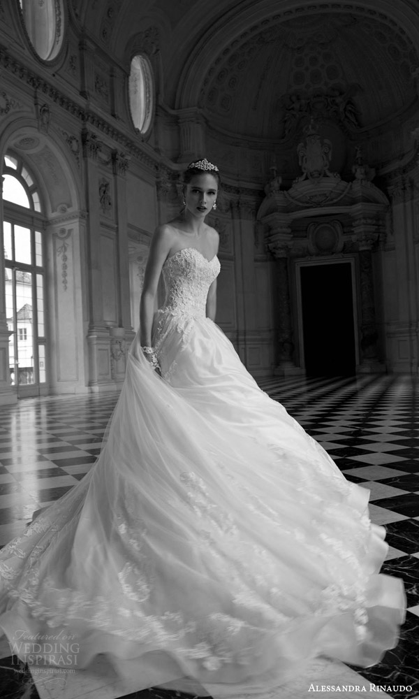 alessandra rinaudo 2016 bridal tina strapless ball gown gorgeous wedding dress sweetheart lace bodice beautiful skirt motion