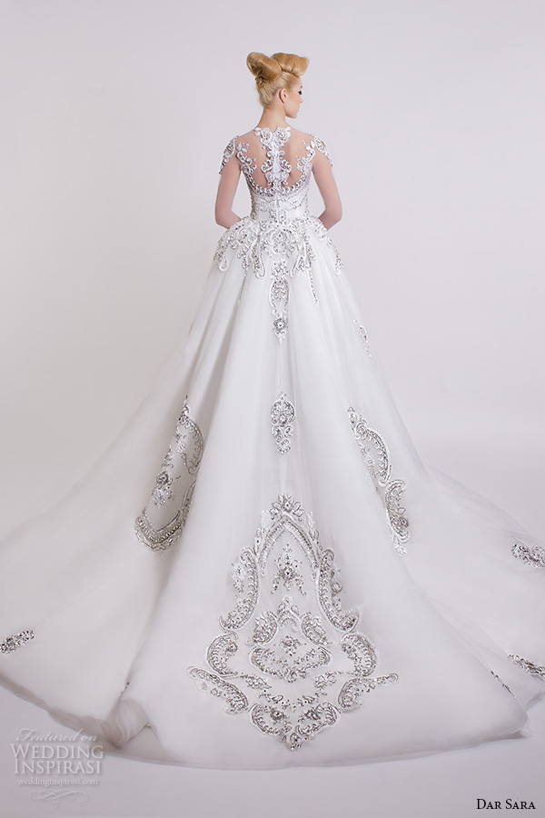 dar sara bridal 2016 wedding dresses stunning illusion back embellished beaded crystals a line ball gown