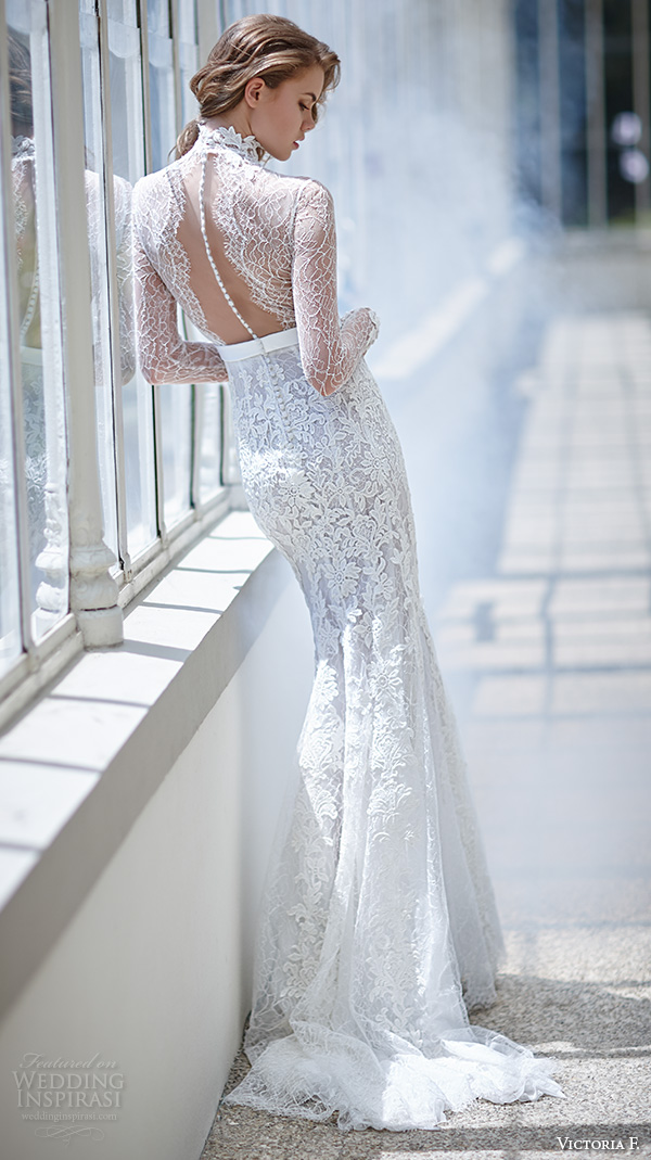 victoria f 2016 bridal high neck lace sheer long sleeves sheath wedding dress back view