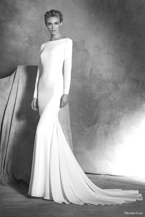 atelier pronovias bridal 2016 ivania long sleeve crepe mermaid wedding dress cuff buttons