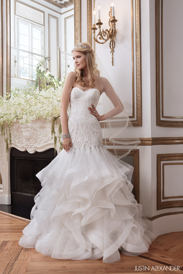 justin alexander 2016 bridal style 8795 strapless mermaid wedding dress godet skirt