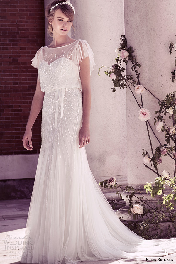 ellis bridal 2015 wedding dress vintage flutter sheer sleeves sequins embellishment tulle fluted blouson gown style 15160