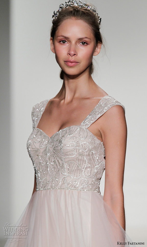 kelly faetanini fall 2016 bridal new york runway thick straps metallic lace embroidered bodice tulle skirt a line ball gown wedding dress style shar
