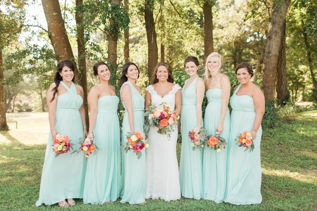 David's Bridal bridesmaids dresses   Alicia Lacey Photography   see more on: http://burnettsboards.com/2016/01/darling-outer-banks-wedding/