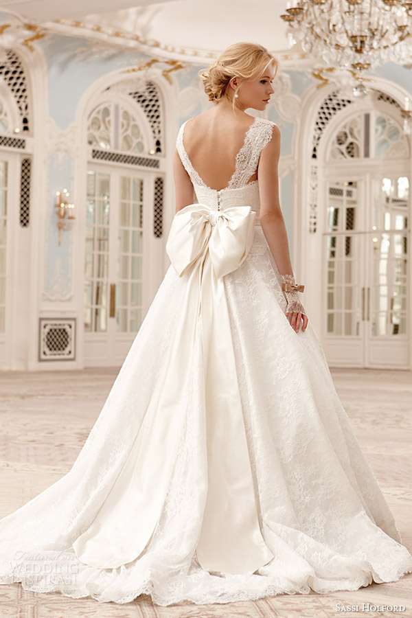 sassi holford wedding dress couture 2015 sadie lace ball gown wide straps bow back