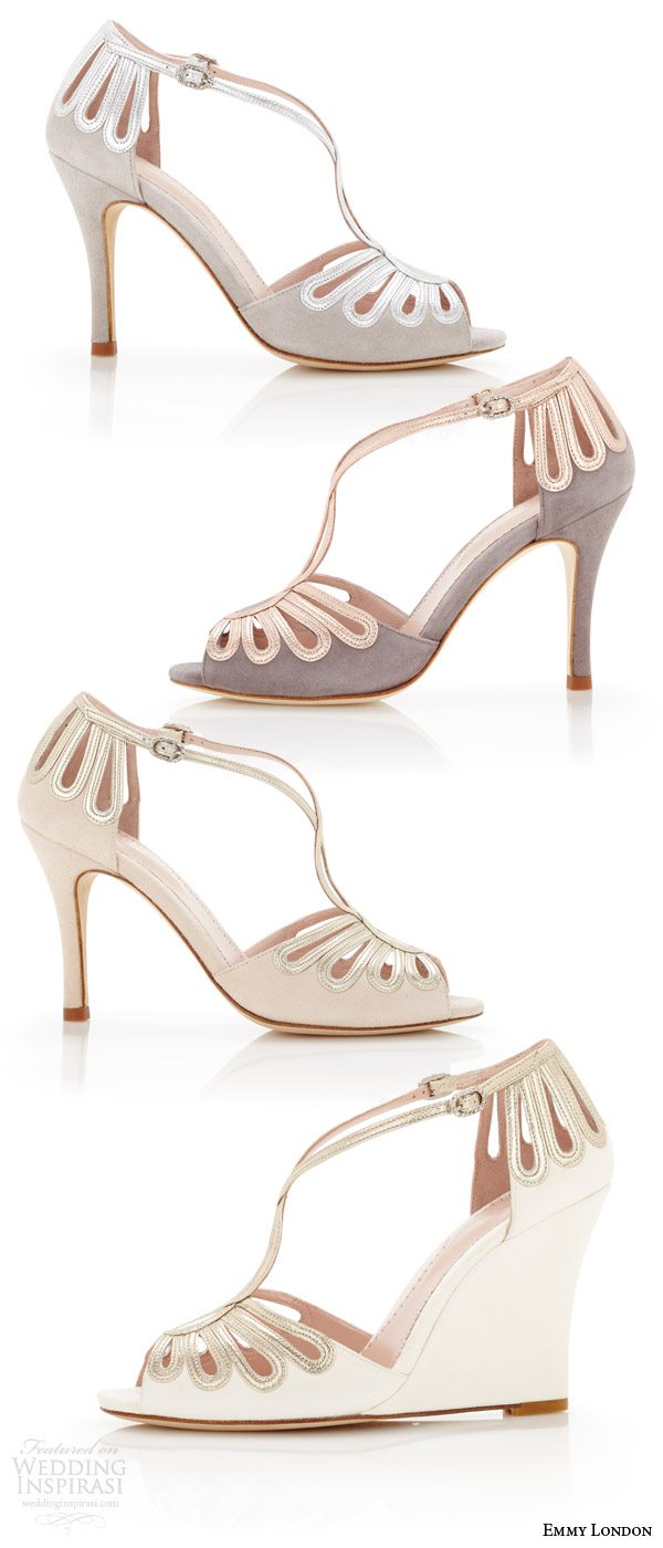emmy london color wedding shoes peep toe heels wedges cream vapour cinder colored strap bridal heels (leila)