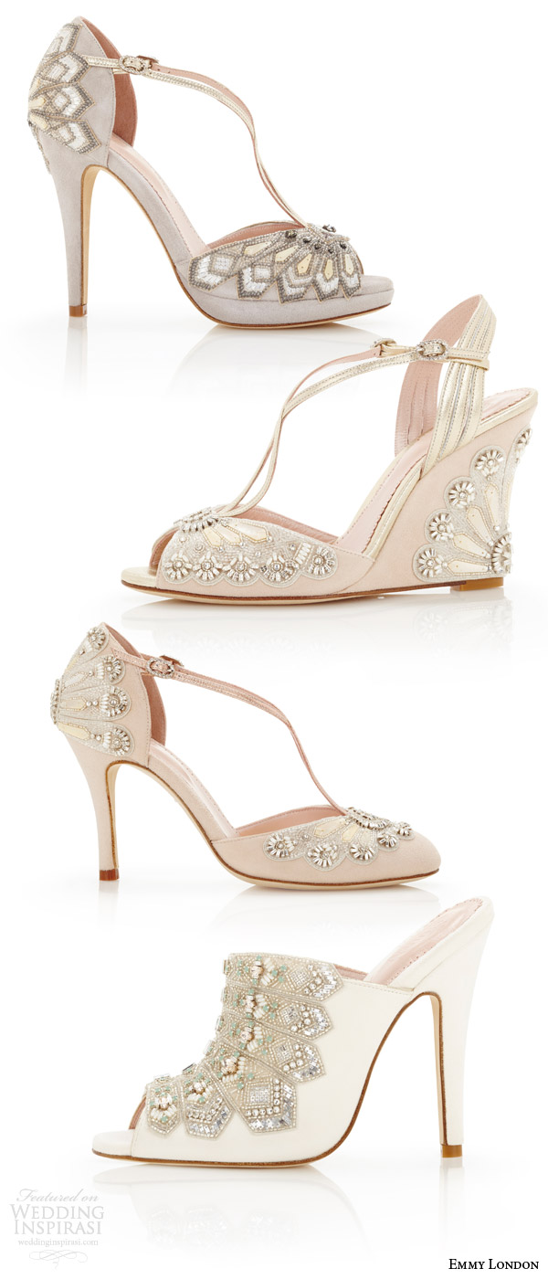 emmy london gorgeous wedding shoes art deco vintage embellished open toes high heel sandals pumps blush gray ivory kid suede wedding shoe types