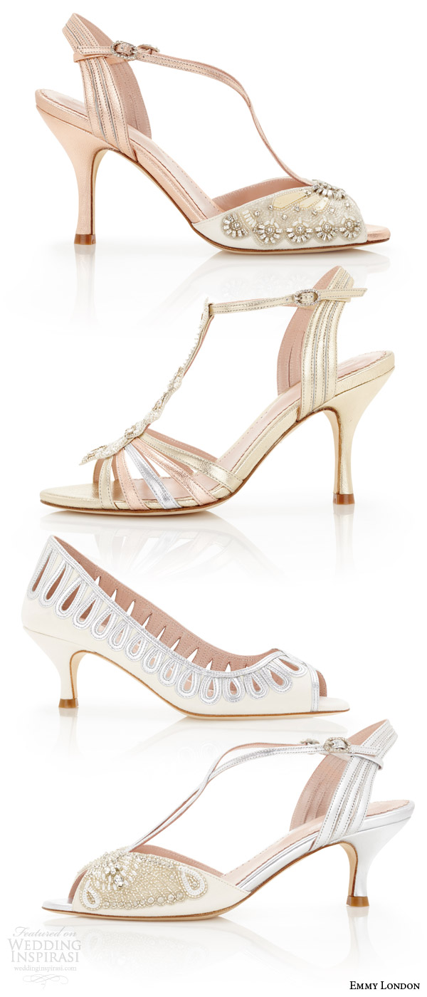 emmy london summer wedding shoes strappy heel open toed sandals kitten heels bridal shoes embellished