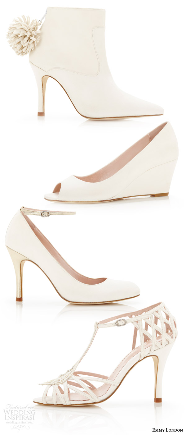 emmy london white wedding shoes minimally embellished bridal high heels shoe pumps wedge peeptoe sandals ankle strap