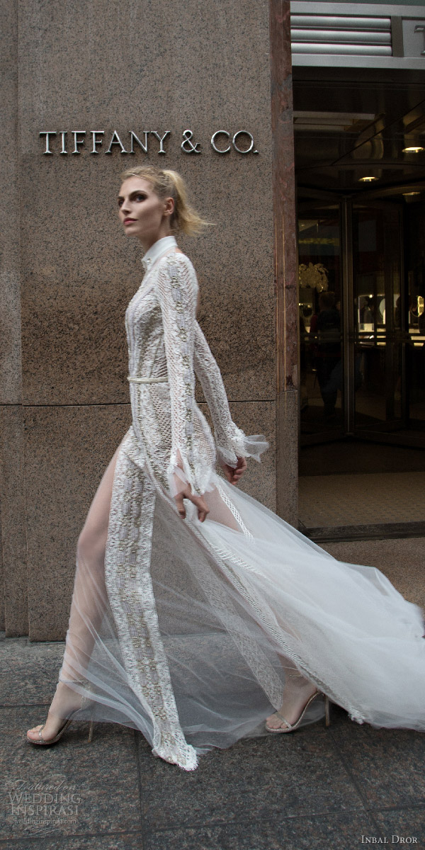 inbal dror 2016 v neck button collar illusion long sleeve lace fit flare wedding dress style 10 sdv