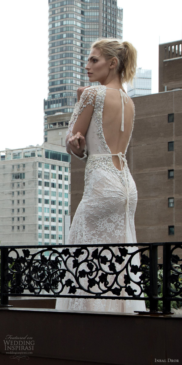 inbal dror 2016 v neck illusion long sleeve trumpet sheath wedding dress style 13 bkv low back