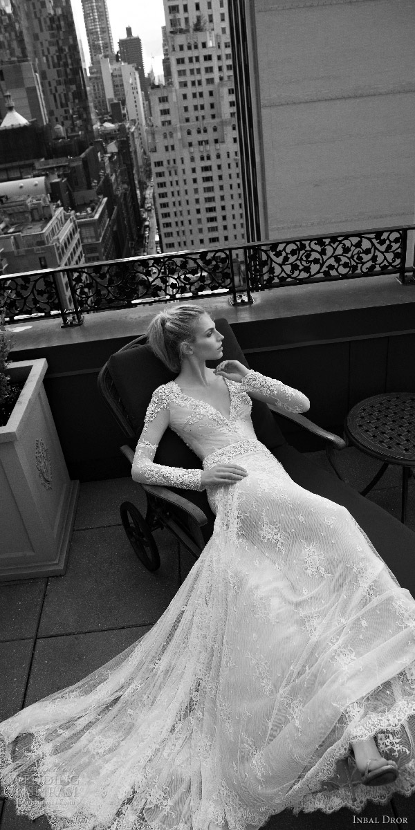 inbal dror 2016 v neck illusion long sleeve trumpet sheath wedding dress style 13 mv