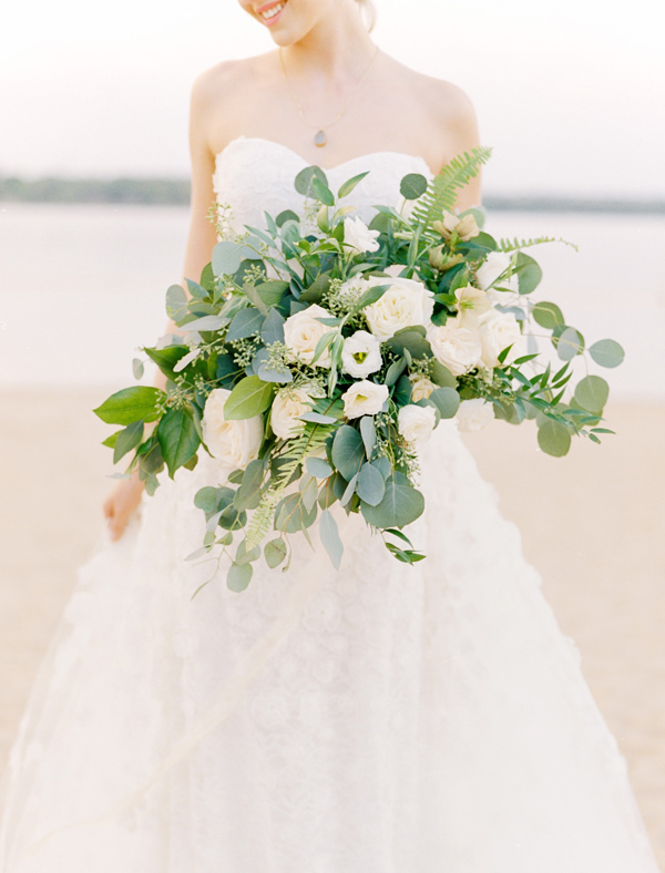 lush bouquet with eucalyptus - photo by Ben Q Photography http://ruffledblog.com/easy-romantic-wedding-inspiration