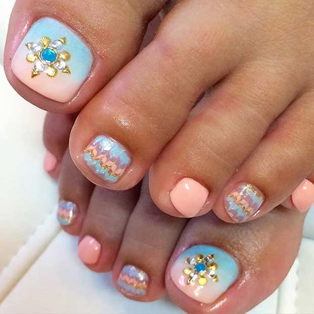 Pastel Pedicure Design with Rhinestones