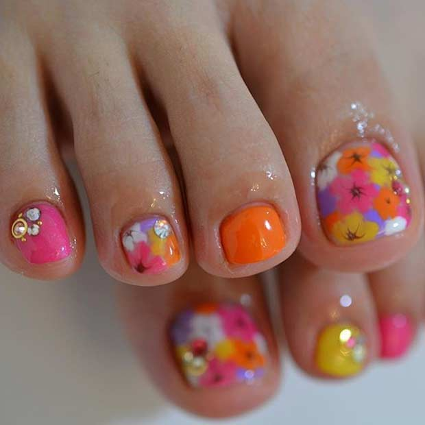 Bright Floral Pedicure Design