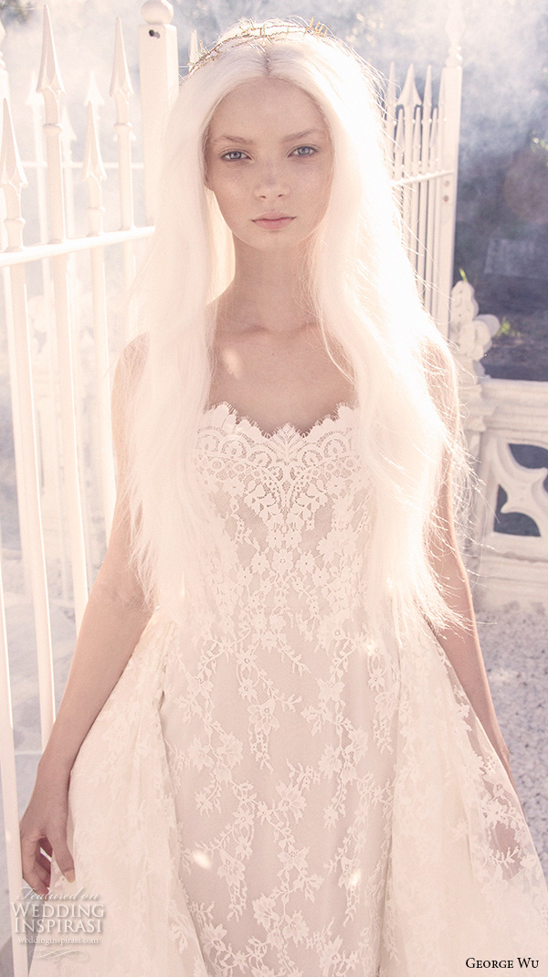 george wu 2016 bridal gowns romantic lace bodice sheath lace wedding dress a line overskirt (salome) zv