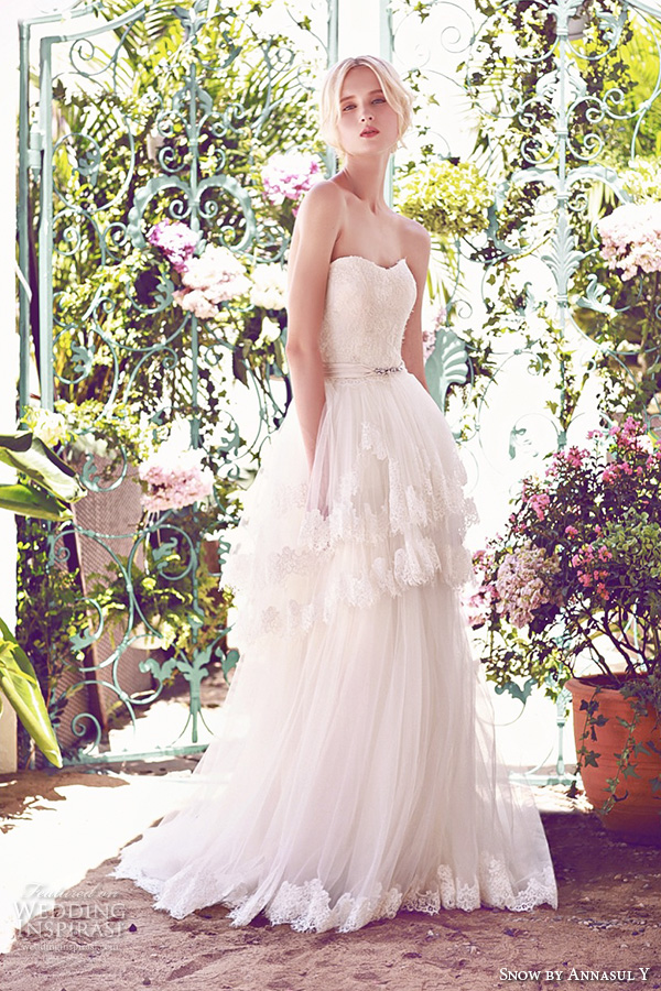 snow by annasul y 2016 bridal gowns strapless sweetheart neckline embellished bodice princess romantic tulle layered a line ball gown wedding dress brush train (sa3129b) mv