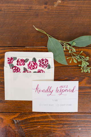 Red flower envelope liner | Jessica Green Photography | see more on: http://burnettsboards.com/2016/02/sweetly-sentimental-red-wedding/