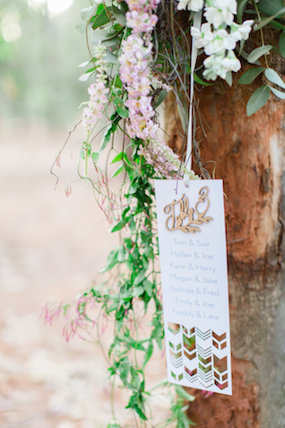 Unique seating chart display | Carolien & Ben Photography | see more on: http://burnettsboards.com/2016/02/south-african-bohemian-forest-elopement/