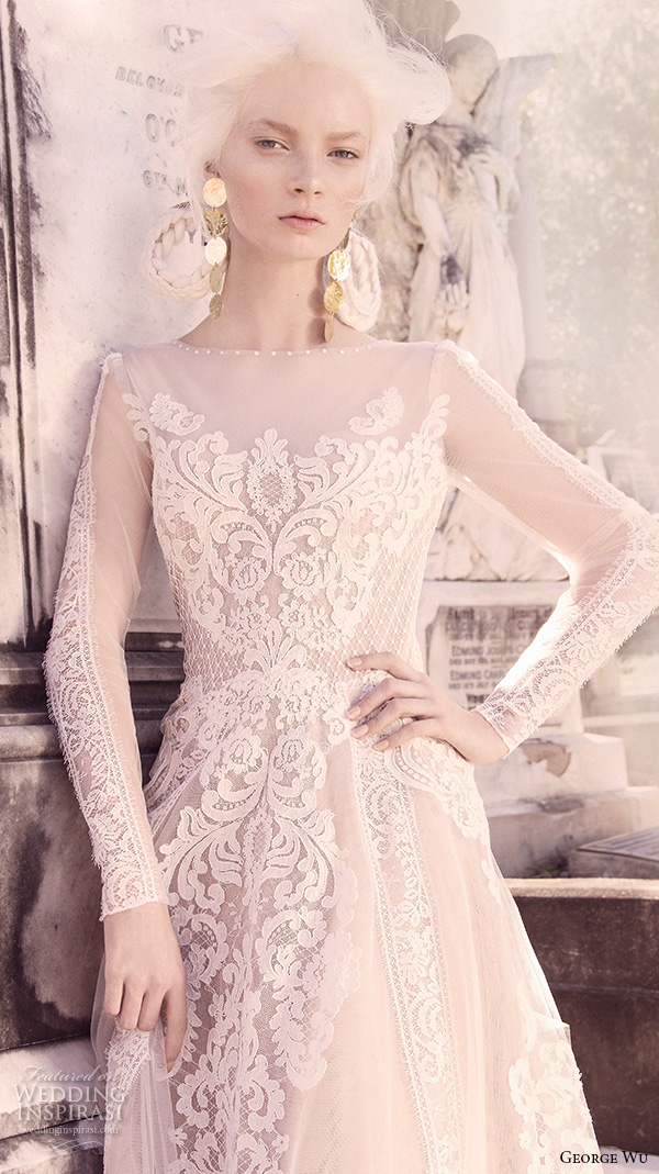 george wu 2016 bridal gowns long sleeves illusion jewel neckline fully embellished lace a line ball gown wedding dress (vulcan) zv