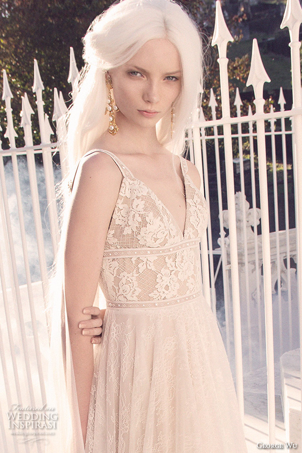 george wu 2016 bridal gowns sleeveless v neckline lace bodice romantic a line wedding dress tulle skirt sweep train (01) zv
