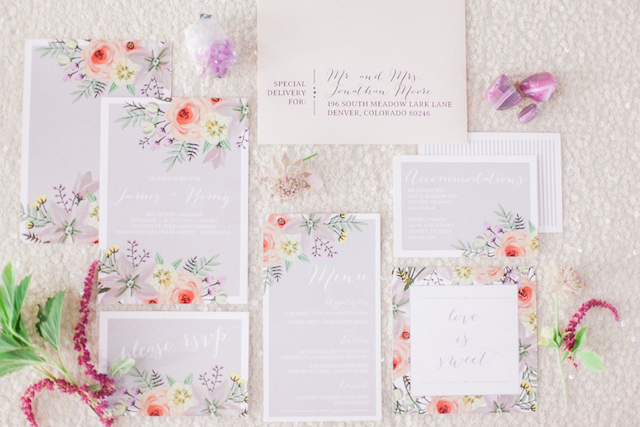 Pastel floral wedding invitation suite | Sara Lynn Photographic | see more on: http://burnettsboards.com/2016/02/pink-gold-geometric-wedding/