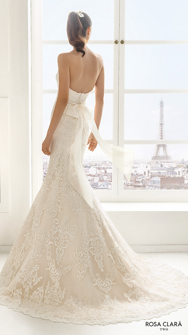 rosa clara two spring 2016 strapless semi sweetheart neckline fully embellished lace elegant trumpet mermaid wedding dress open back sweep train (estilo) bv